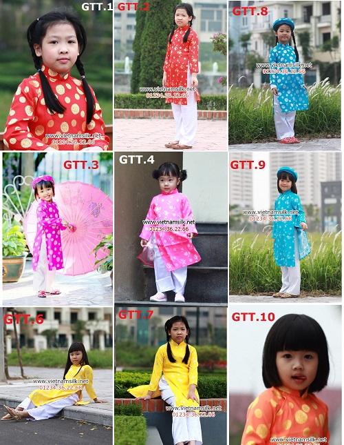 áo dài cho bé gái gấm thái tuấn