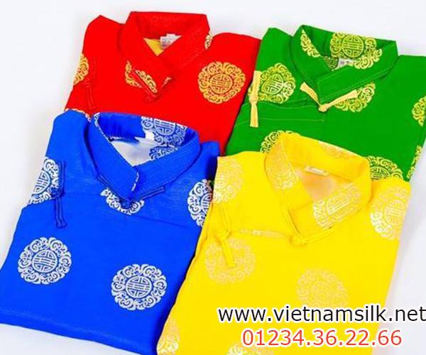 các mẫu áo dài cho bé trai gấm Thái Tuấn