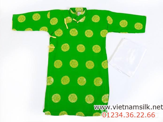 áo dài cho bé trai gấm Thái Tuấn màu nõn chuối