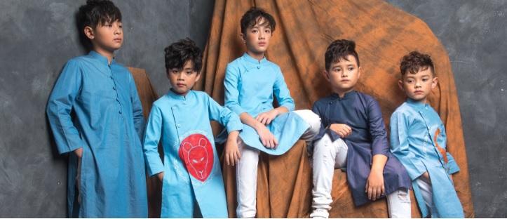 Áo dài cách tân cho bé trai Phương Nguyễn Silk